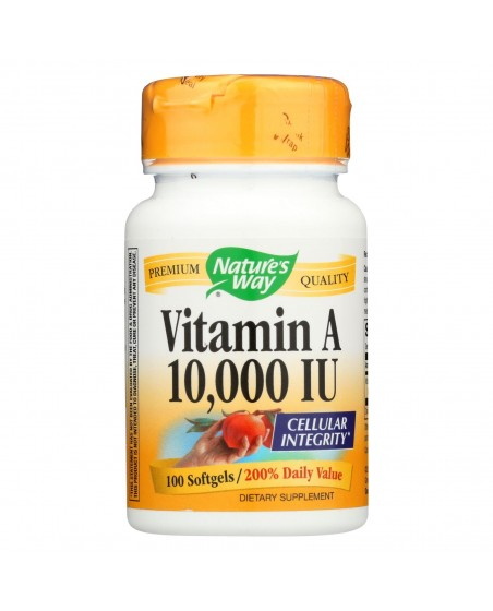 Front view of Nature's Way Vitamin A 10,000 IU bottle of 100 softgels