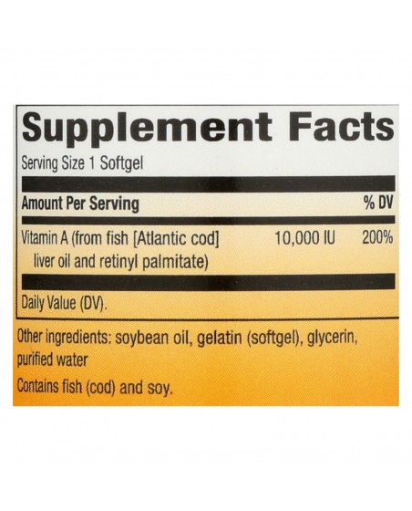 Supplement Facts of Nature's Way Vitamin A 10,000 IU